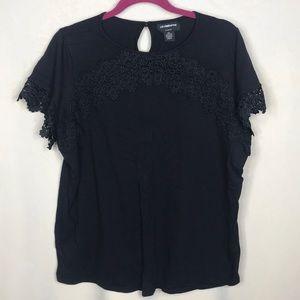 Liz Claiborne Women 0X Black Shirt w/Lace Detail